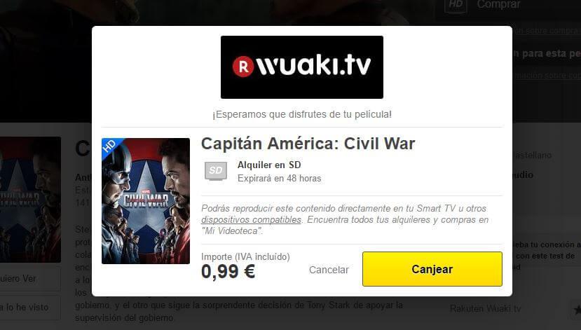 Cupón Wuaki para ver Capitán América