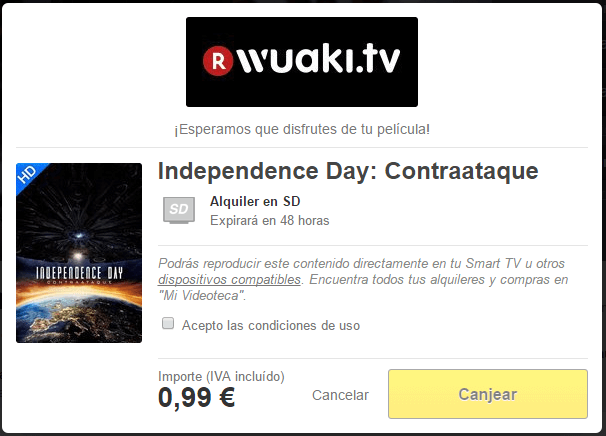 Cupón Wuaki Independence Day