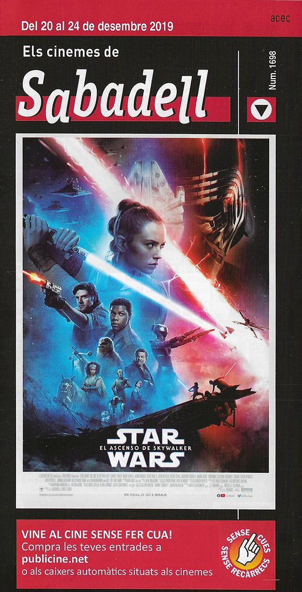 Cartelera Sabadell 1698 Star Wars El ascenso de Skywalker