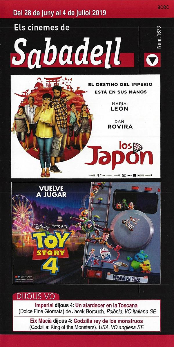 Cartelera Sabadell 1673 - Los Japón y Toy Story 4